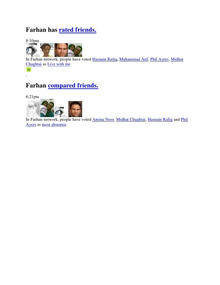 Farhan has rated friends.<br />8:10pm<br />In Farhan network, people have voted Hasnain Rafiq, Muhammad Atif, Phil Ayres, ...