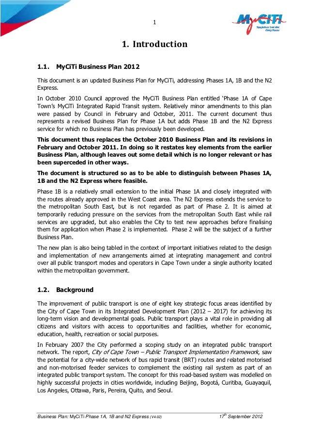 myciti business plan 2012