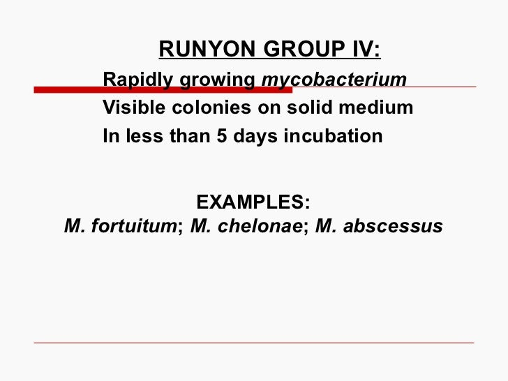 RUNYON GROUP IV: Rapidly growing  mycobacterium Visible colonies on solid medium In less than 5 days incubation EXAMPLES: ...