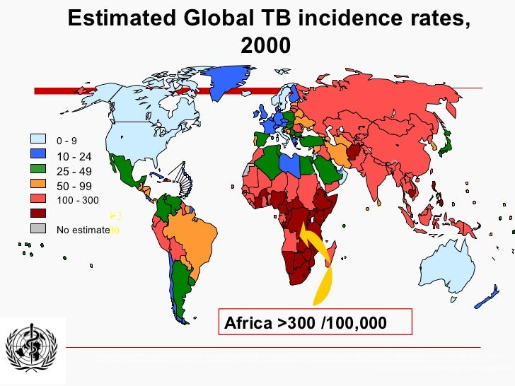 Estimated Global TB incidence rates, 2000 The boundaries and names shown and the designations used on this map do not impl...