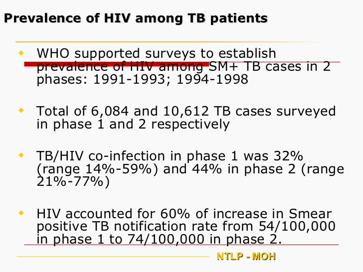 Prevalence of HIV among TB patients <ul><li>WHO supported surveys to establish prevalence of HIV among SM+ TB cases in 2 p...