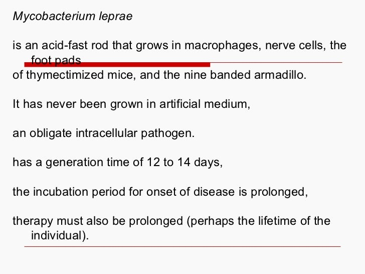 Mycobacterium leprae is an acid-fast rod that grows in macrophages, nerve cells, the foot pads of thymectimized mice, and ...