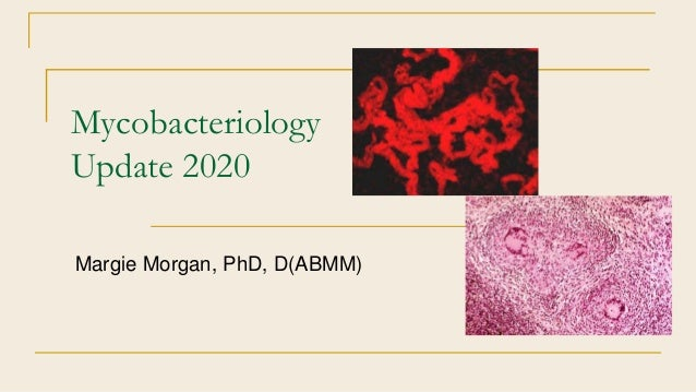 Mycobacteriology Update 2020 Margie Morgan, PhD, D(ABMM)