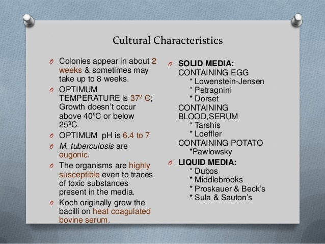 Mycobacterium tuberculosis -Characteristics