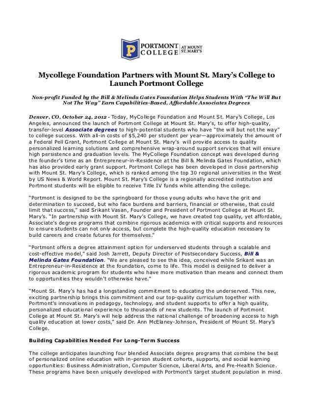 Mycollege Foundation Partners with Mount St. Mary's College to                     Launch Portmont College Non-profit Fund...