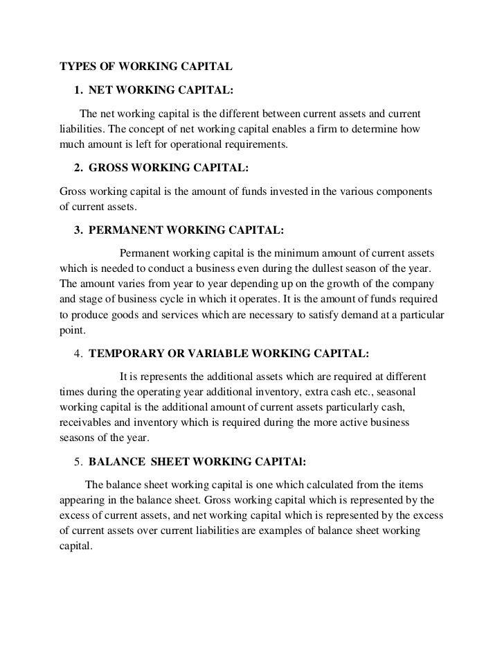working capital on balance sheet