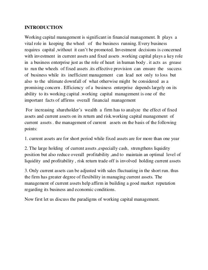 working capital management project This finance project report made on study of working capital of bank reference to j & k bank and based on the proecedure of analysis of workig capital in.