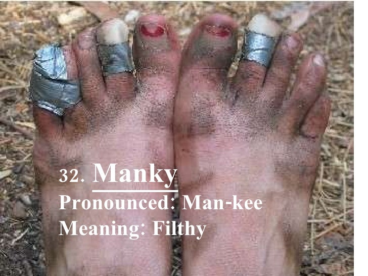 32.   Manky Pronounced: Man-kee Meaning: Filthy