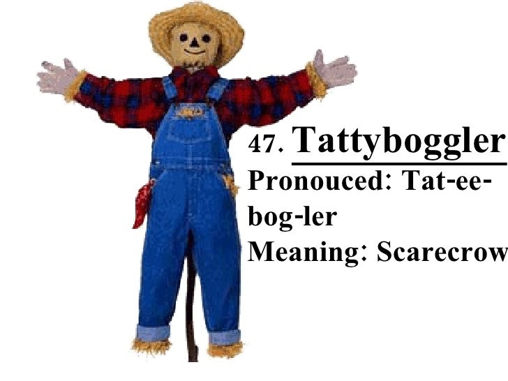 47.  Tattyboggler   Pronouced: Tat-ee-bog-ler Meaning: Scarecrow