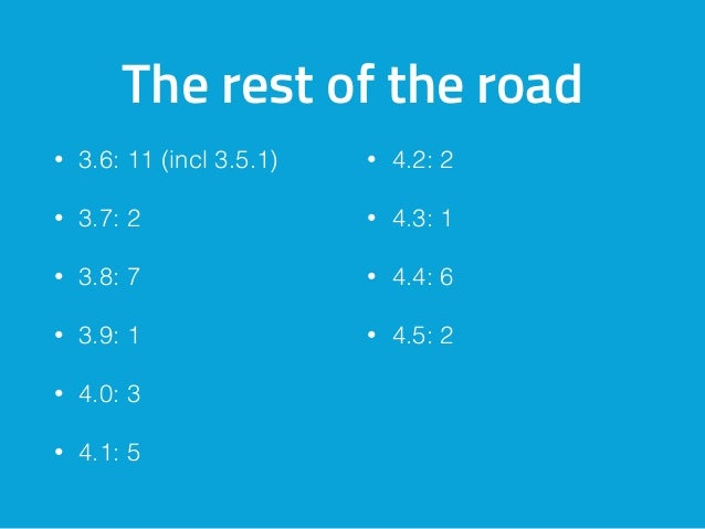 The rest of the road • 3.6: 11 (incl 3.5.1) • 3.7: 2 • 3.8: 7 • 3.9: 1 • 4.0: 3 • 4.1: 5 • 4.2: 2 • 4.3: 1 • 4.4: 6 • 4.5:...