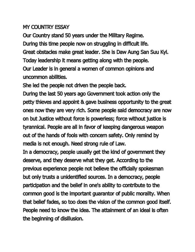 My Country Essay  My Country Essay Our Country Stand  Years Under The Military Regime