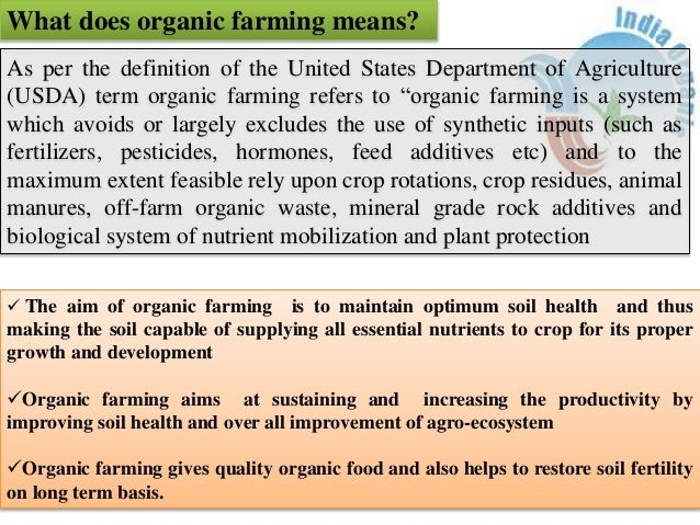 Organic Farming Prospects And Constraints