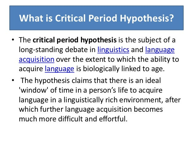 critical period psychology age