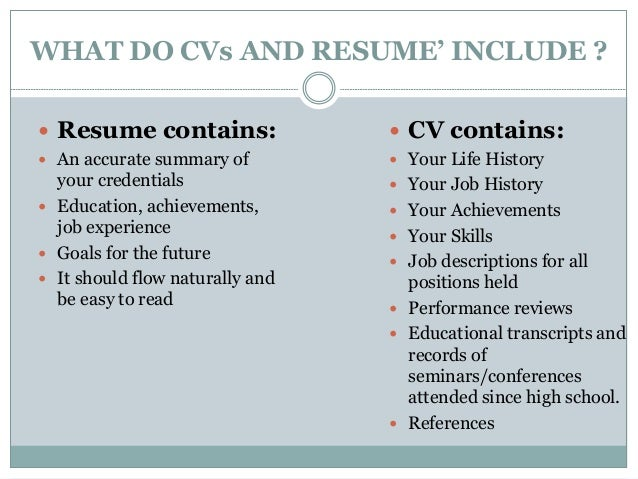 WHAT DO CVs AND RESUMEu0027 INCLUDE ?  What To Include In A Resume