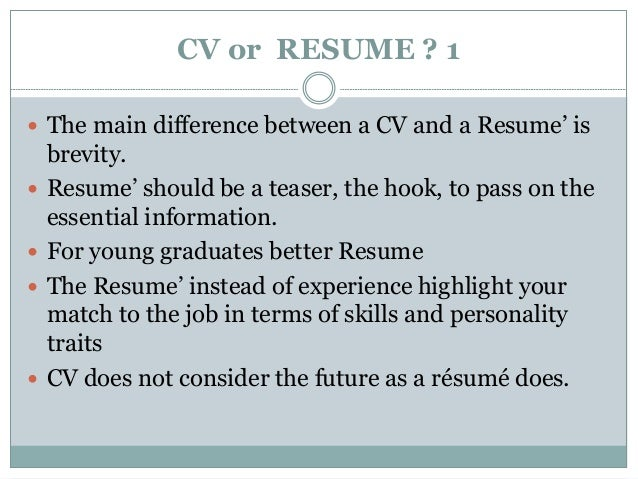 CV Or RESUME ? 1  The Main Difference Between ...  Difference Between Resume And Cv