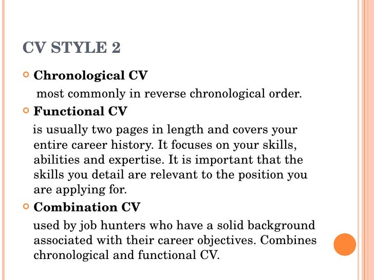CV STYLE ...  Combination Style Resume