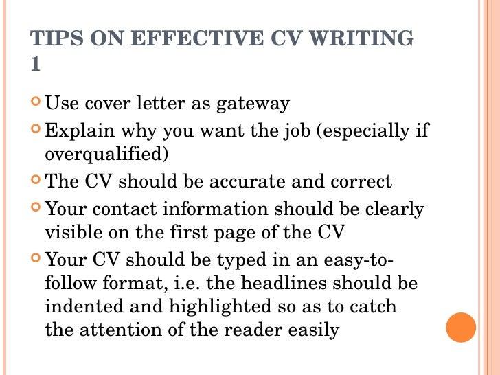 TIPS ON EFFECTIVE CV ...