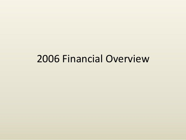 2006 Financial Overview