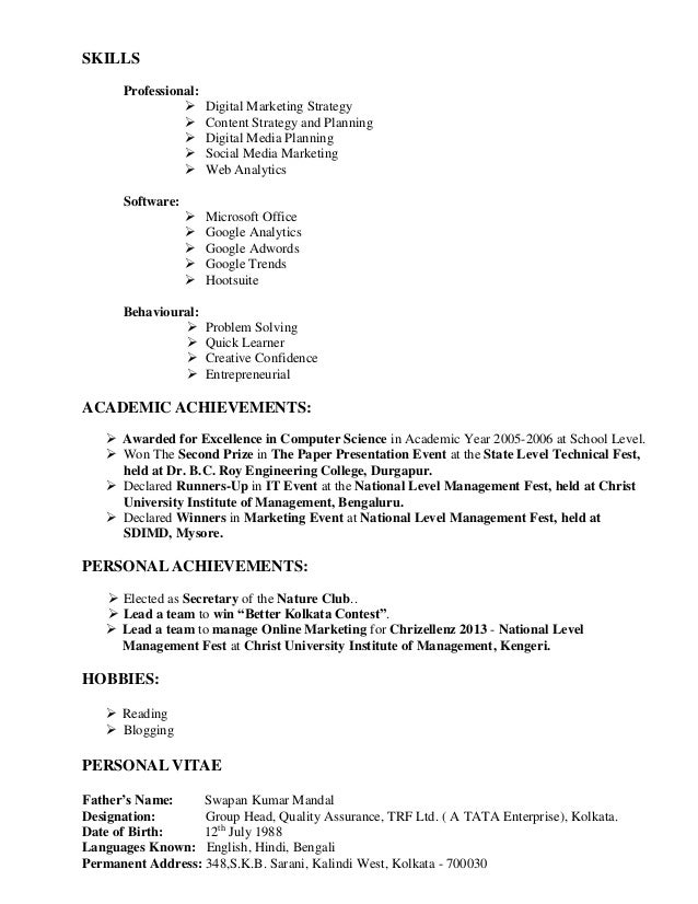 skills for marketing resumes