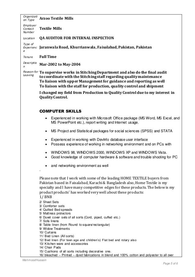 My Cv For The Job Of Qc Qa Manager In Home Textiles Garments