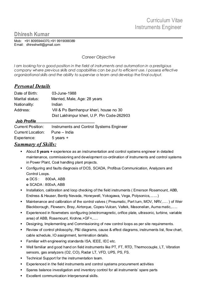 Resume Instrumentation Engineer