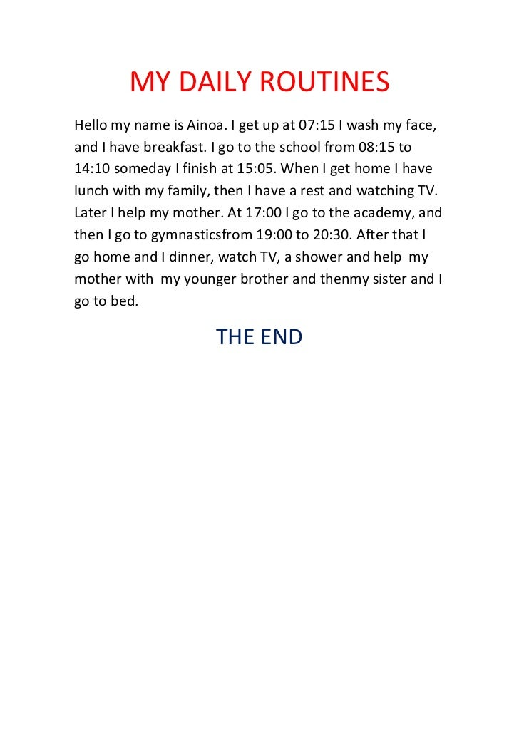 My daily life essay