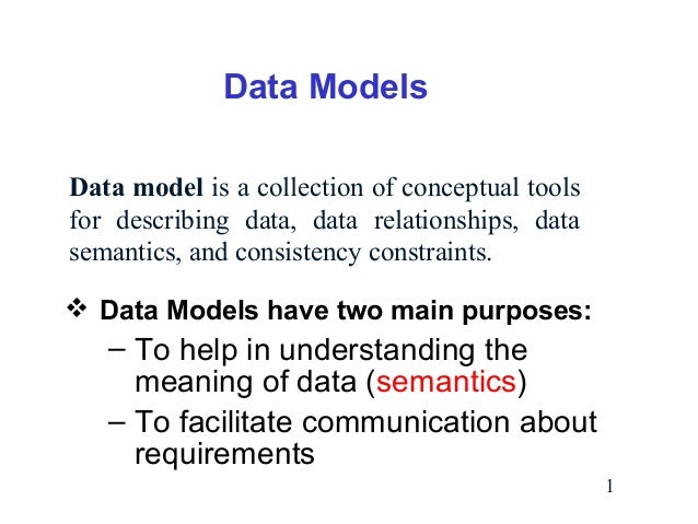 Data Models Data model is a collection of conceptual tools for describing data, data relationships, data semantics, and co...