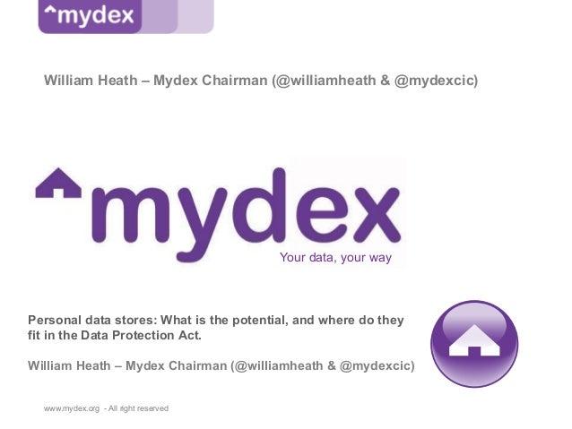 William Heath – Mydex Chairman (@williamheath & @mydexcic)                                         Your data, your wayPers...