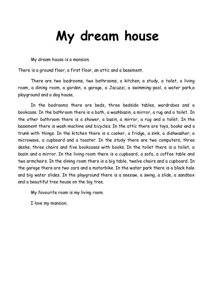 Essay about my dream house spm