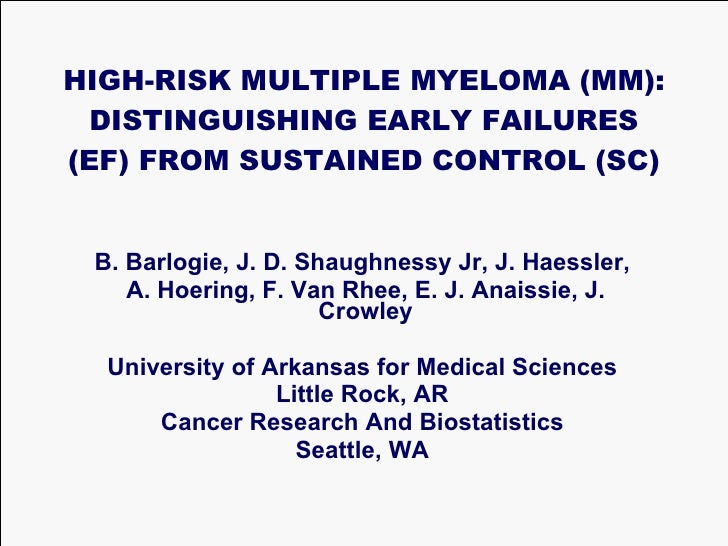 High-Risk Multiple Myeloma: Distinguishing Early Failures from Sustained Control