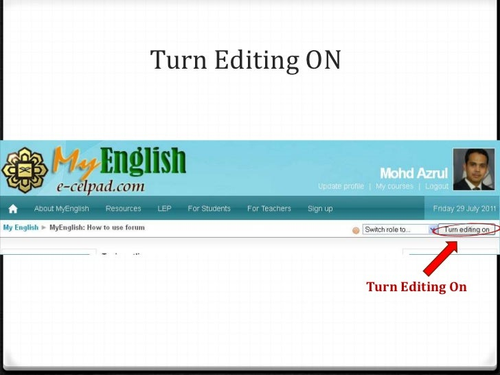 Turn Editing ON<br />Turn Editing On<br />
