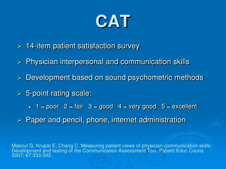 using the communication assessment tool  cat  to assess
