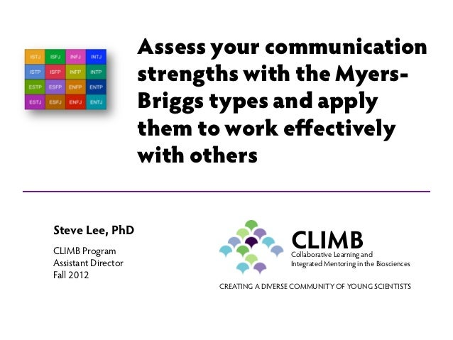 Assess your communication                     strengths with the Myers-                     Briggs types and apply        ...
