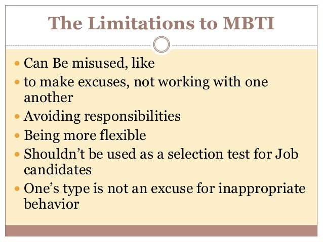appropriate and inappropriate uses of mbti This free personality test is based on carl jung's and isabel briggs myers'  and  occupations most suitable for your personality type along with examples of  see  which famous personalities share your type be able to use the results of this.