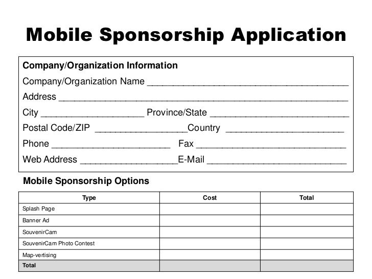 Exceptional 24. Mobile Sponsorship ...  Application For Sponsorship Template