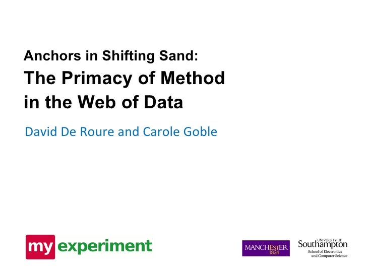 David De Roure and Carole Goble Anchors in Shifting Sand: The Primacy of Method in the Web of Data