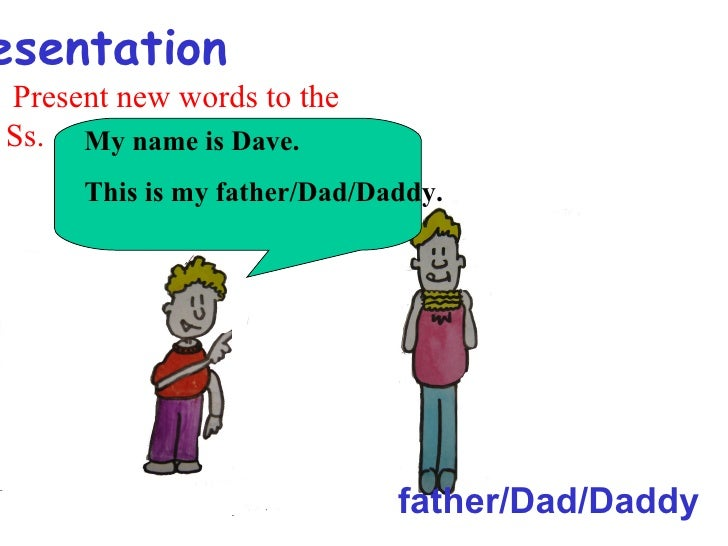 esentationPresent new words to theSs. My name is Dave.     This is my father/Dad/Daddy.                             father...