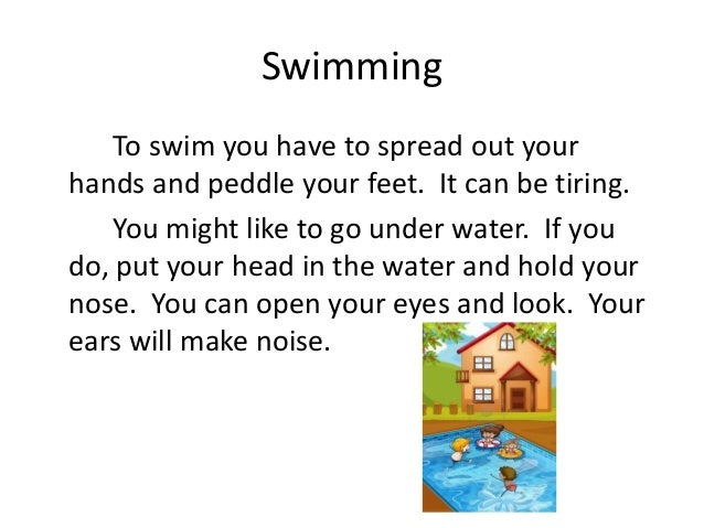 write about your favorite sport swimming