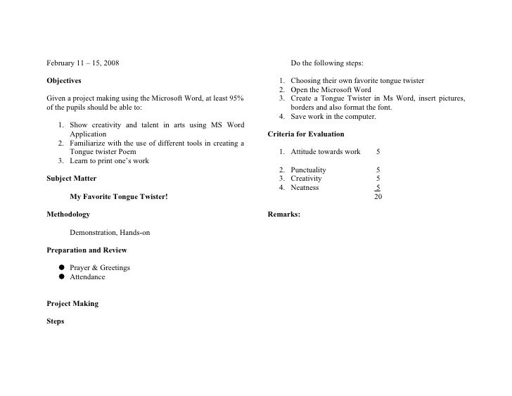 February 11 – 15, 2008                                                  Do the following steps:  Objectives               ...