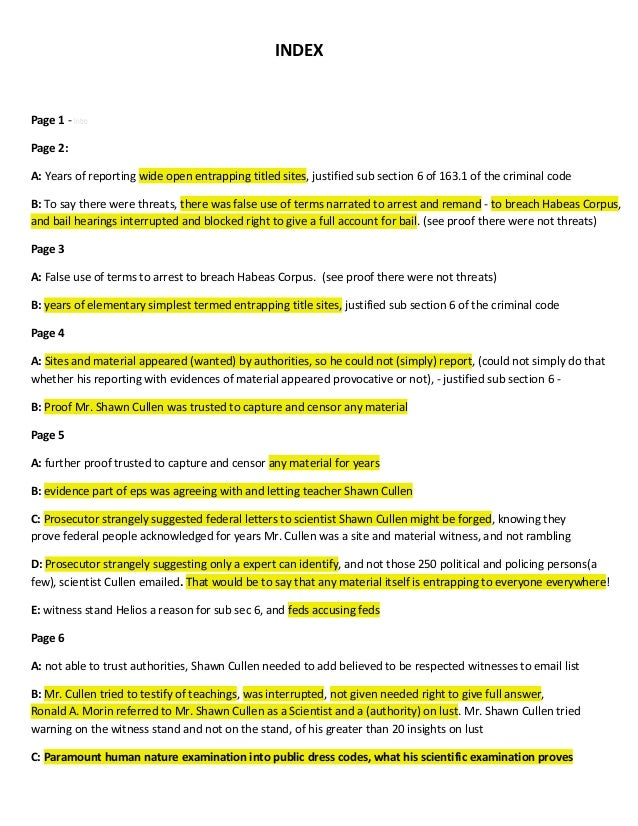 INDEX Page 1 - Intro Page 2: A: Years of reporting wide open entrapping titled sites, justified sub section 6 of 163.1 of ...