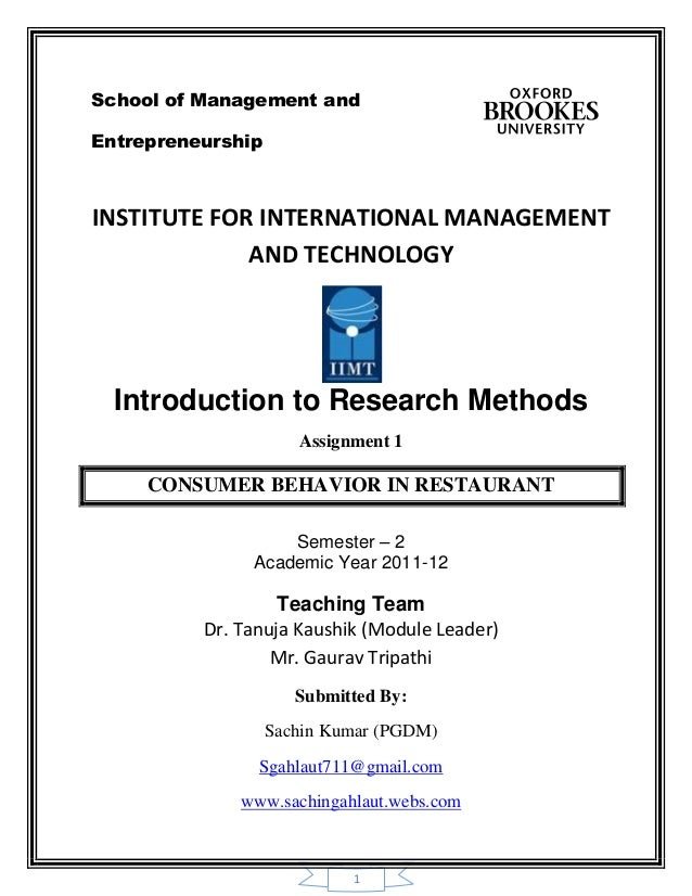1School of Management andEntrepreneurshipINSTITUTE FOR INTERNATIONAL MANAGEMENTAND TECHNOLOGYIntroduction to Research Meth...