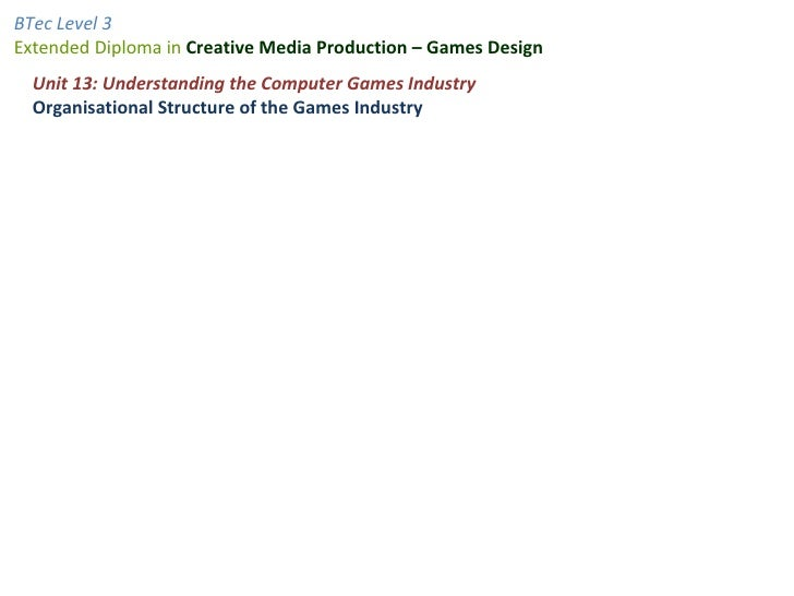 Unit 13: Understanding the Computer Games Industry Organisational Structure of the Games Industry
