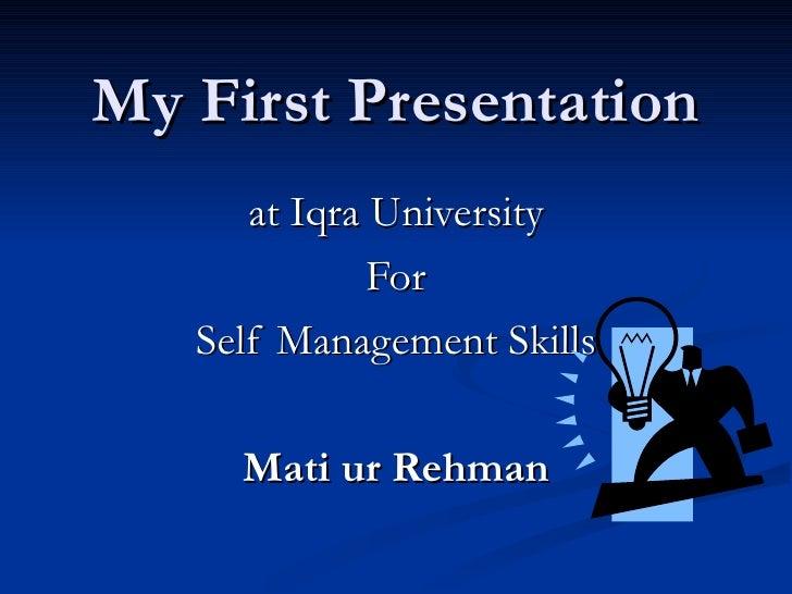 self management presentation