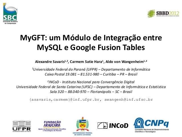 MyGFT: um Módulo de Integração entre MySQL e Google Fusion Tables Alexandre Savaris1,2, Carmem Satie Hara1, Aldo von Wange...