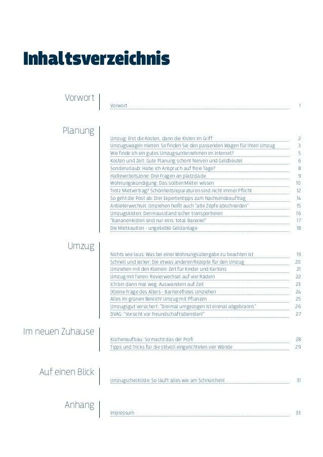 ... 2. Inhaltsverzeichnis Vorwort Planung Umzug Im Neuen Zuhause ...