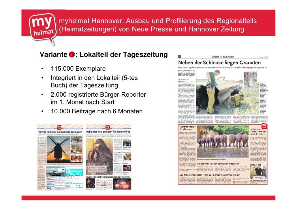 myheimat Hannover: Ausbau und Profilierung des Regionalteils       (Heimatzeitungen) von Neue Presse und Hannover Zeitung ...