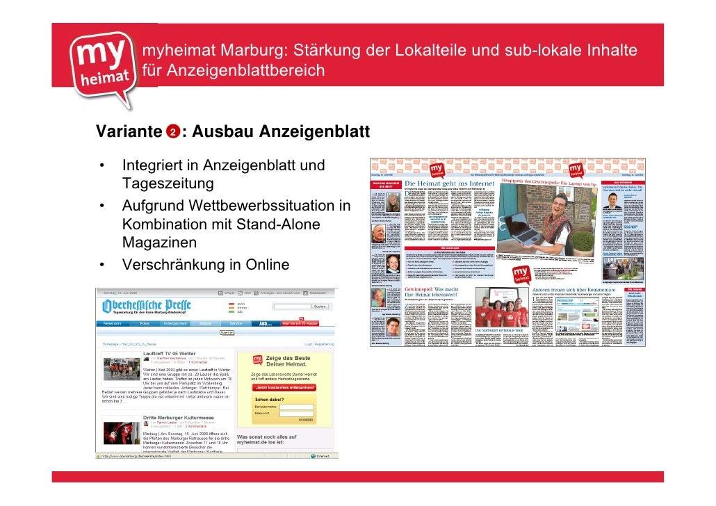myheimat Marburg: Stärkung der Lokalteile und sub-lokale Inhalte       für Anzeigenblattbereich   Variante   2   : Ausbau ...