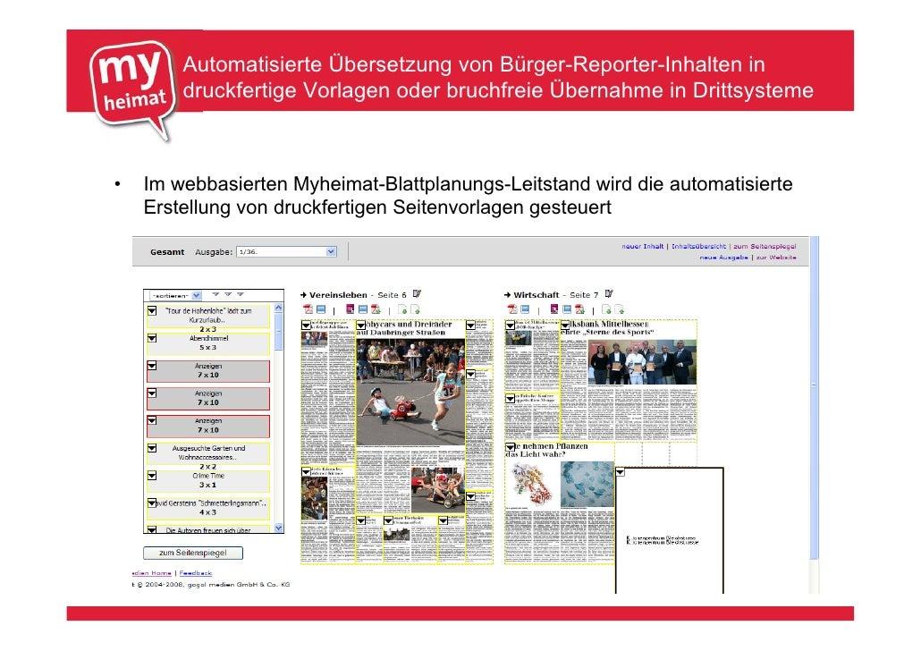 Automatisierte Übersetzung von Bürger-Reporter-Inhalten in         druckfertige Vorlagen oder bruchfreie Übernahme in Drit...