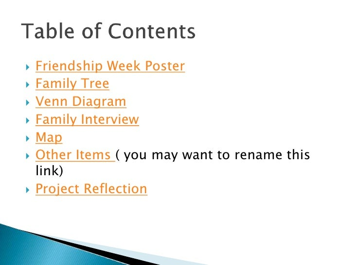    Friendship Week Poster    Family Tree    Venn Diagram    Family Interview    Map    Other Items ( you may want to...