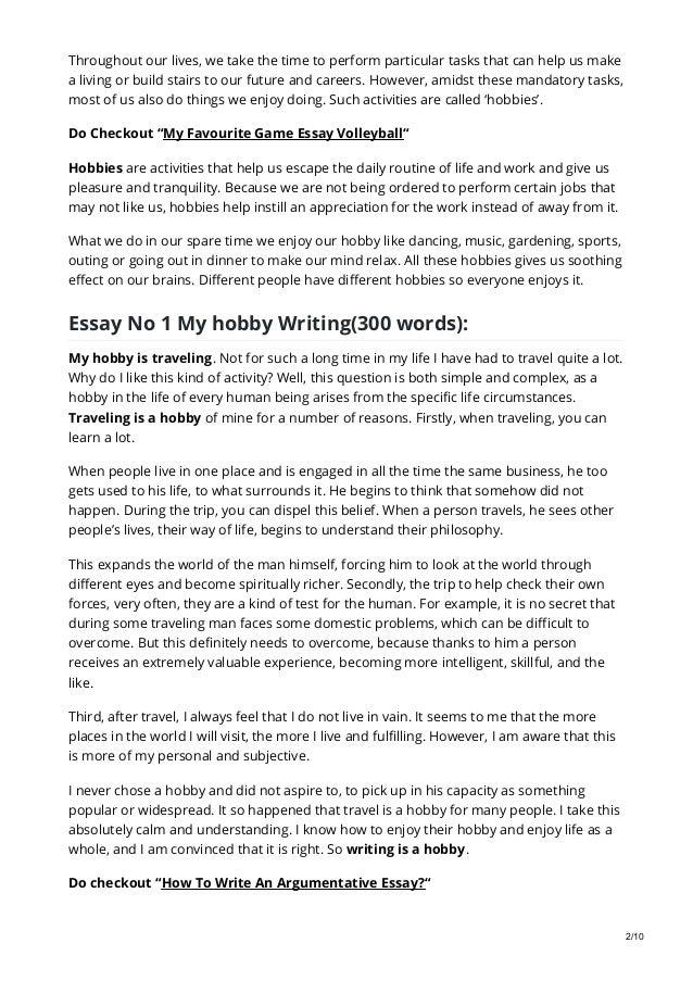 Essay on My Hobby: 8 Selected Essays on My Hobby